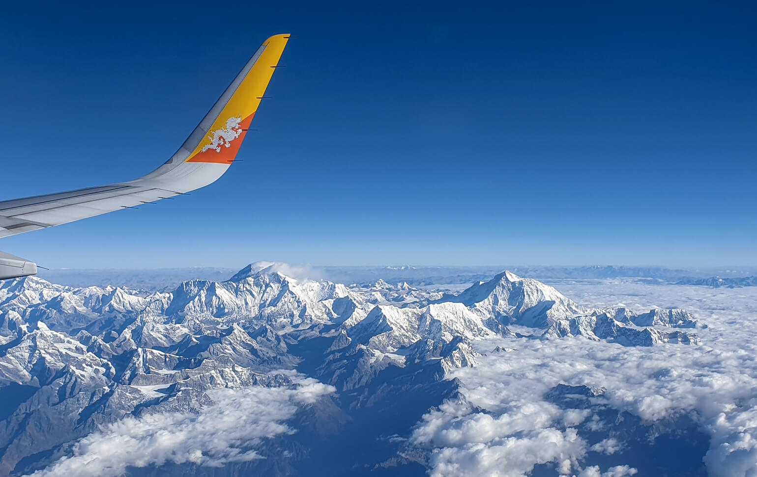 The Himalayas including Mount Everest.